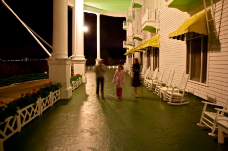 Mackinac bridge and Grand Hotel porch
