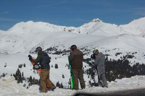 boarders at the top of the pass